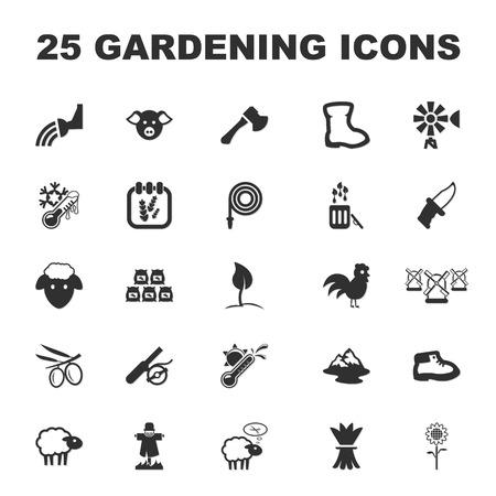 compost: farm, gardening 25 black simple icons set for web design