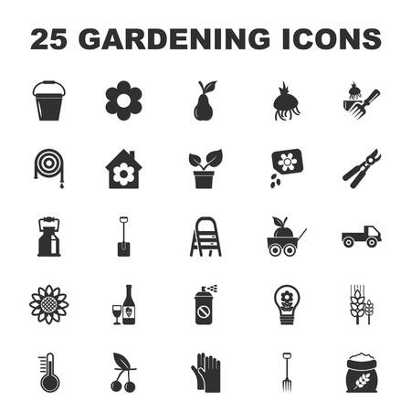 25: farm, gardening 25 black simple icons set for web design