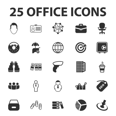 business teamwork: Business, Finance, office 25 black simple icons set for web Illustration