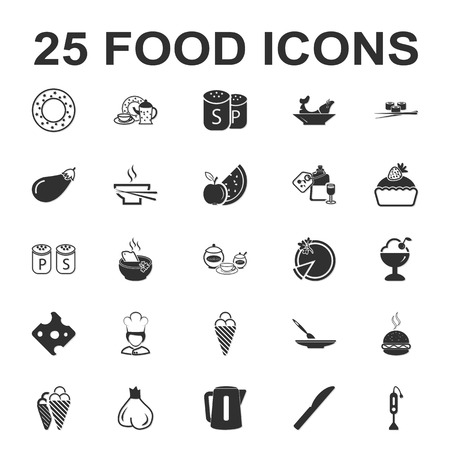 Food, kitchen, cooking 25 black simple icons set for web design