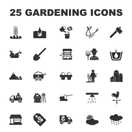irrigation: farm, gardening 25 black simple icons set for web design