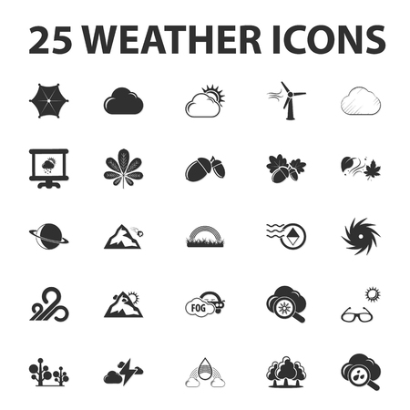 tornadoes: Weather forecast 25 black simple icons set for web design