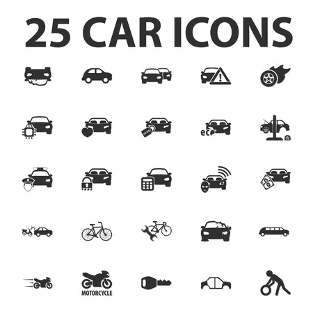 motorcycle officer: Car, repair 25 black simple icons set for web design Illustration