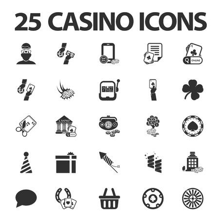25: Casino, gambling 25 black simple icons set for web design Illustration