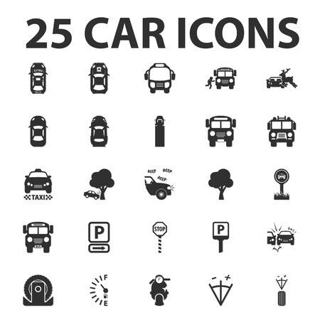 fined: Car, repair 25 black simple icons set for web design Illustration