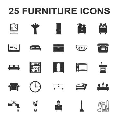 25: furniture, interior 25 black simple icons set for web design