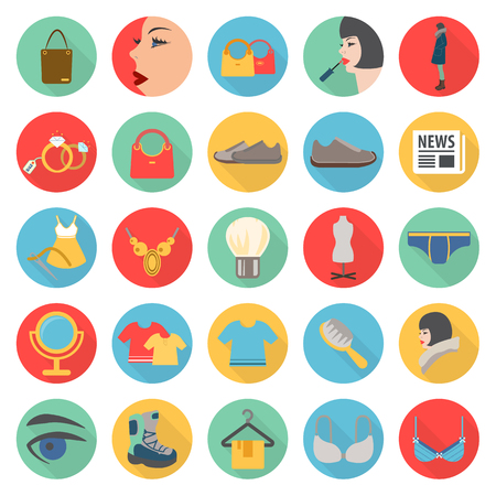 toupee: fashion, beuty, shopping 25 flat icons set for web design Illustration