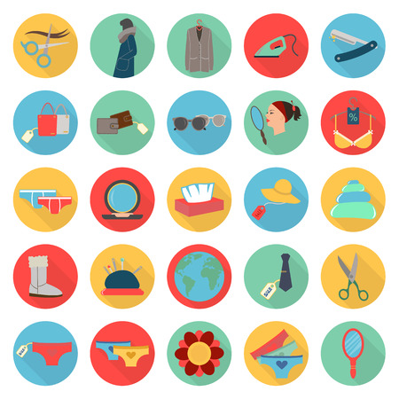 beuty: fashion, beuty, shopping 25 flat icons set for web design Illustration