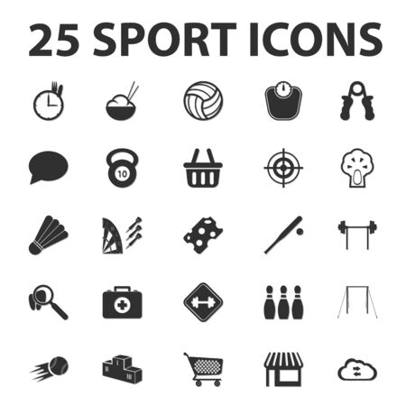 badminton: Sports, fitness 25 black simple icons set for web design Illustration