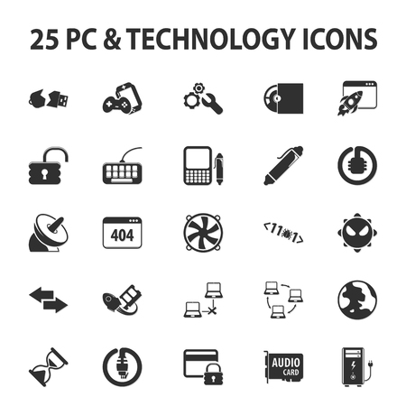 25: Computer, technology, pc 25 black simple icons set for web