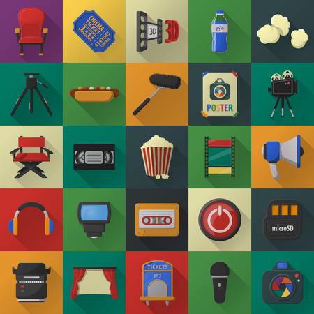 videocassette: Cine, cine, medios 25 iconos planos establecidos para el diseño web Vectores