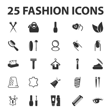 beuty: fashion, beuty, shopping 25 black simple icons set for web design Illustration