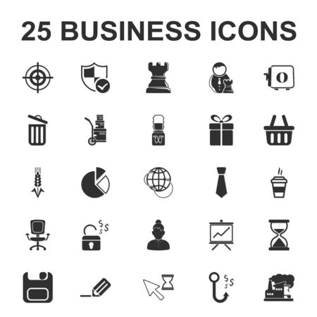 cooler boxes: Business, Finance 25 black simple icons set for web