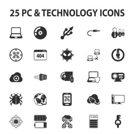コンピューター、技術、pc 25 黒シンプルなアイコンの web の設定