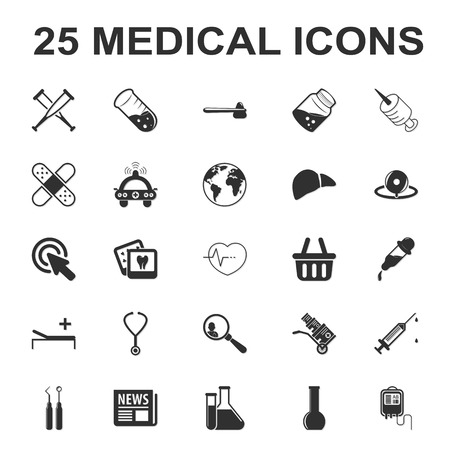 shrink: medicine,care,hospital 25 black simple icons set for web design