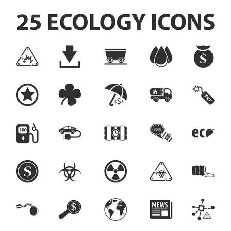 barrel bomb: Ecology, nature, bio 25 black simple icons set for web design Illustration