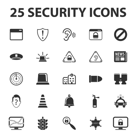 ear protection: Security, police, protection 25 black simple icons set for web design Illustration