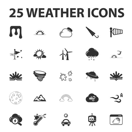 unidentified flying object: Weather forecast 25 black simple icons set for web design