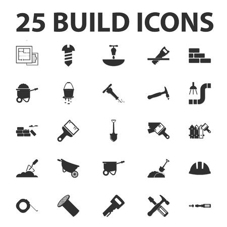 25: build, repair 25 black simple icons set for web
