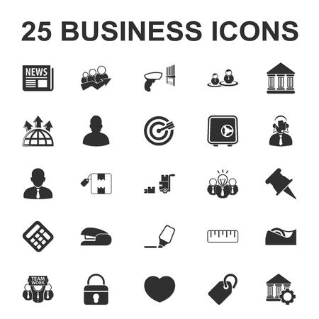 tape marker: Business, Finance 25 black simple icons set for web