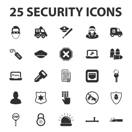 truncheon: Security, police, protection 25 black simple icons set for web design Illustration