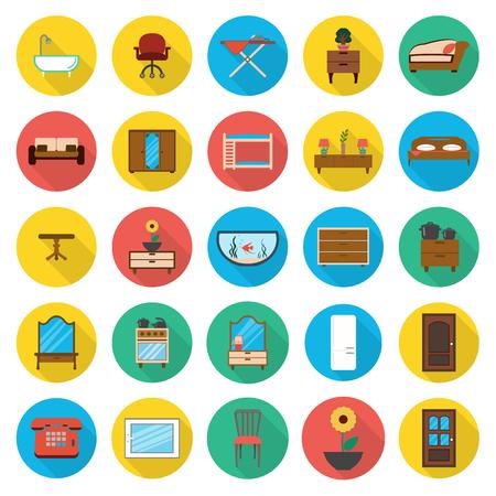 kitchen shower: furniture, interior 25 flat icons set for web design Illustration