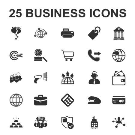 25: Business, Finance, office 25 black simple icons set for web Illustration