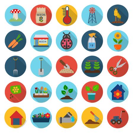 Bauernhof, Gartenarbeit 25 Flach Icons für Web-Design gesetzt