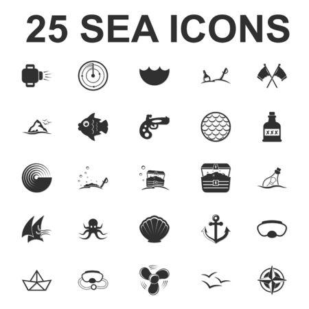 sail fin: Sea, ocean, diving 25 black simple icons set for web design