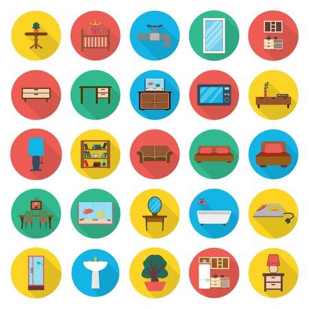 25: furniture, interior 25 flat icons set for web design Illustration