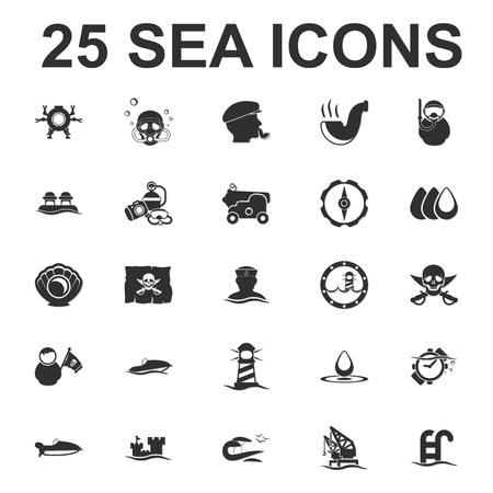 pearl harbor: Sea, ocean, diving 25 black simple icons set for web design