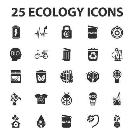 ecology icons: Ecology, nature, bio 25 black simple icons set for web design Illustration