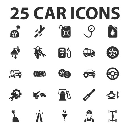 transmission: Car, repair 25 black simple icons set for web design Illustration