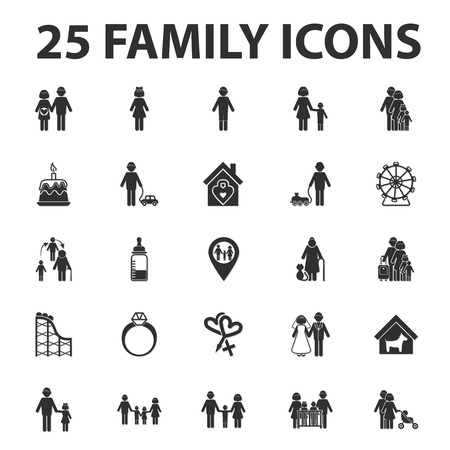 black family: home, family 25 black simple icons set for web design Illustration
