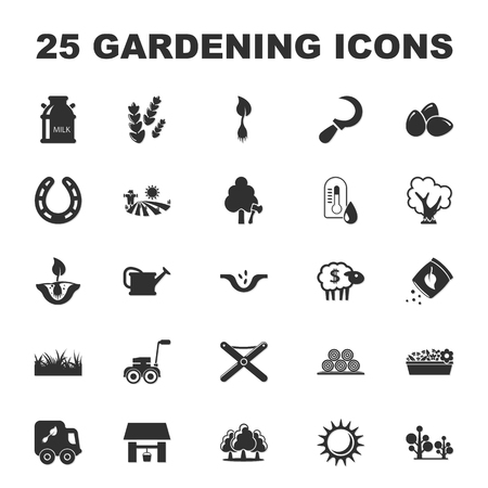 herradura: farm, gardening 25 black simple icons set for web design