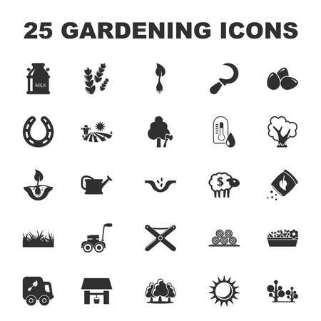 lawn chair: farm, gardening 25 black simple icons set for web design