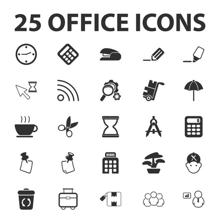 Business, Finance, office 25 black simple icons set for web Illustration