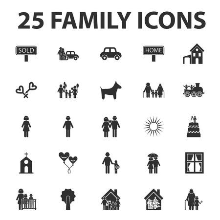 black family: home, family 25 black simple icons set for web design Illustration