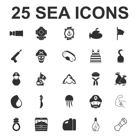 booty pirate: Sea, ocean, diving 25 black simple icons set for web design