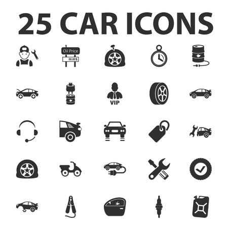 spoiler: Car, repair 25 black simple icons set for web design Illustration