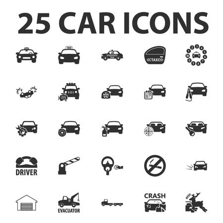 explosion engine: Car, repair 25 black simple icons set for web design Illustration