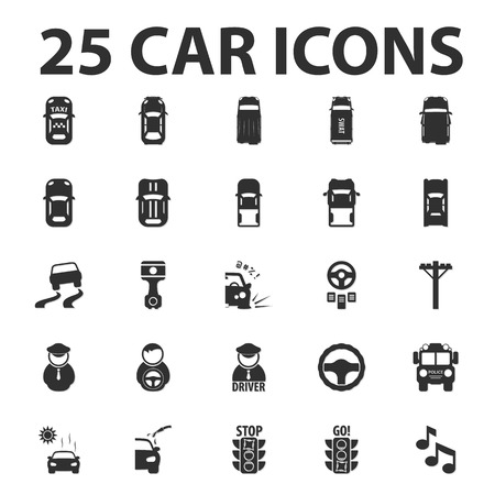 caddy: Car, repair 25 black simple icons set for web design Illustration