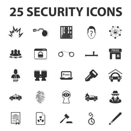 inmates: Security, police, protection 25 black simple icons set for web design Illustration