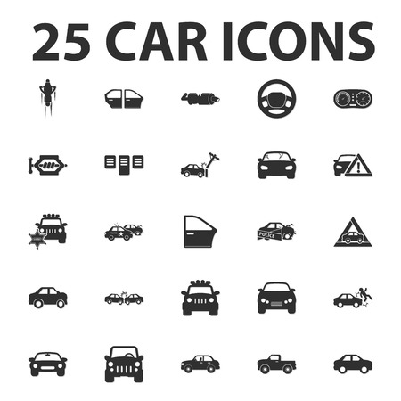 jeep: Car, repair 25 black simple icons set for web design Illustration