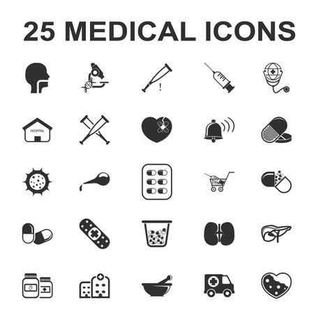 sic: medicine,care,hospital 25 black simple icons set for web design