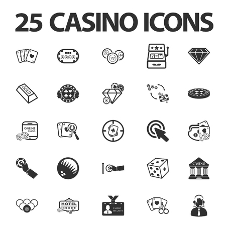 attacker: Casino, gambling 25 black simple icons set for web design Illustration