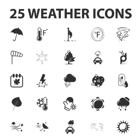 weather forecast: Weather forecast 25 black simple icons set for web design