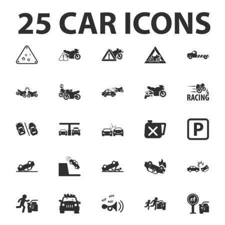 rockfall: Car, repair 25 black simple icons set for web design Illustration