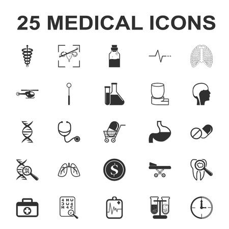 medicine,care,hospital 25 black simple icons set for web design