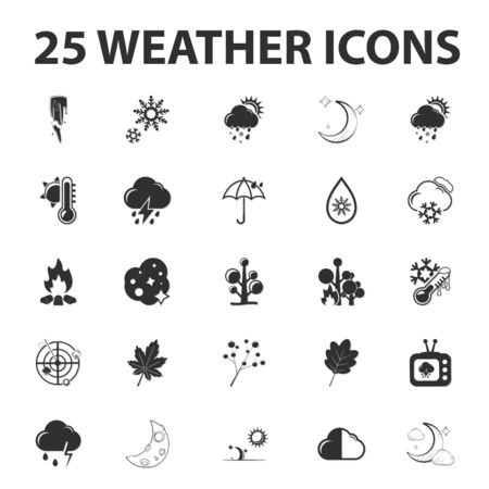 25: Weather forecast 25 black simple icons set for web design